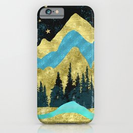 Mountain Adventure Gold Teal  iPhone Case
