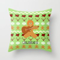 ed sheeran Throw Pillows featuring Gingerbread Ed II by Laura Maria Designs