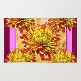 Stylized Abstracted Burgundy Yellow Chrysanthemums Floral Rug