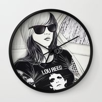 lou reed Wall Clocks featuring Lou Reed by IvándelgadoART