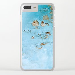 Turquoise Blue Abstract Texture Clear iPhone Case
