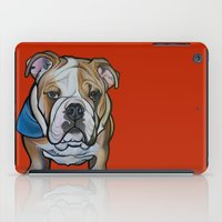 english bulldog iPad Cases featuring Johnny the English Bulldog by Pawblo Picasso