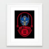 optimus prime Framed Art Prints featuring Optimus by Buby87