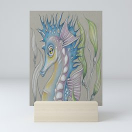 Seahorse Fantasy Kelp Toned Paper Mini Art Print