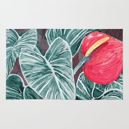 Pop Anthurium Leafs and Flowers Rug