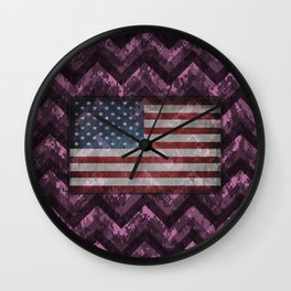 Orchid Purple Digital Camo Chevrons with American Flag Wall Clock