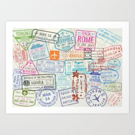 Vintage World Map with Passport Stamps Art Print