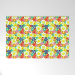 Retro Hippie Daisies and Flowers Pattern Welcome Mat