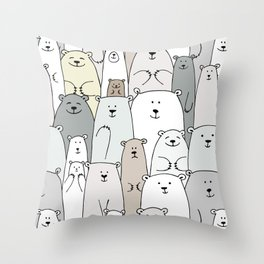 Bear family cartoon Throw Pillow