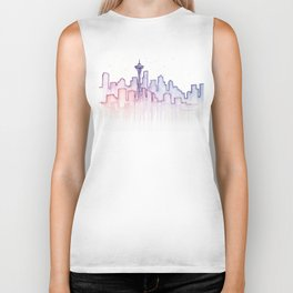 Seattle Skyline Watercolor Biker Tank