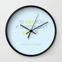 pushing daisies Wall Clocks featuring I'd Kiss You - Pushing Daisies by kirstenariel
