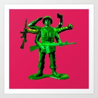 Mutated Green Army Man Art Print