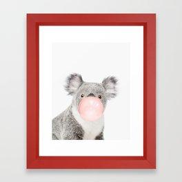 Funny koala with pink bubble gum Framed Art Print