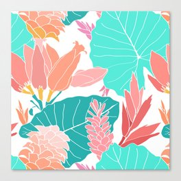 Coral Ginger Flowers + Elephant Ears in White Canvas Print