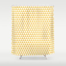 triangles - yellow and white Shower Curtain