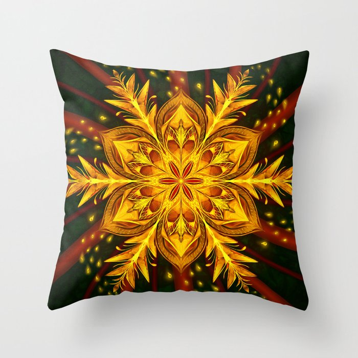 Forest Fire Flake Throw Pillow