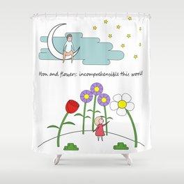 Moon & Flowers Shower Curtain