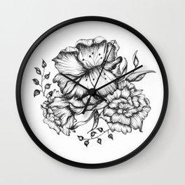 Three Inked Flowers Wall Clock