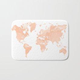World Map Peach Bath Mat