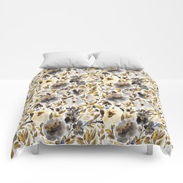 Gold and Grey Fall Feels Floral Comforters