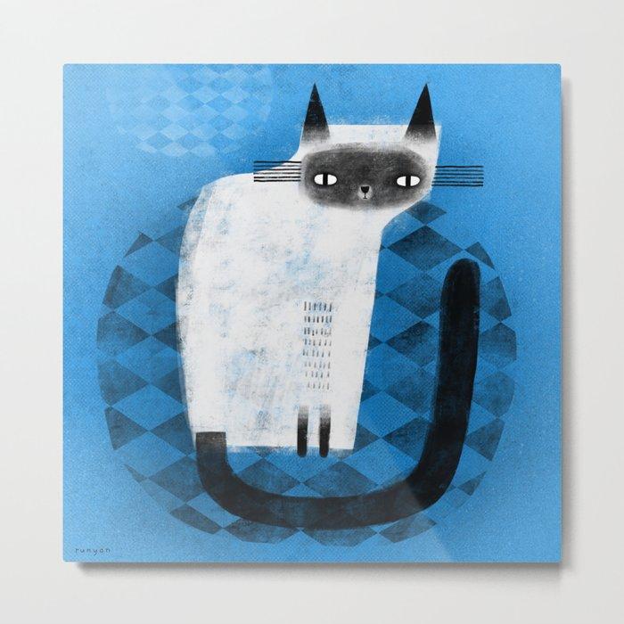 SIAMESE ON BLUE Metal Print