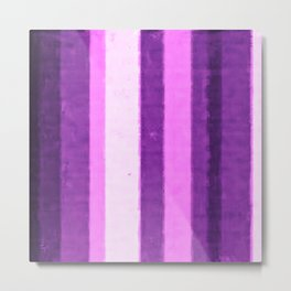 Retro Plum Purple Grungy Primitive Stripes  Metal Print