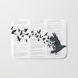 Vintage Style Print with Poem Text Edgar Alan Poe: Edgar Alan Crow Bath Mat