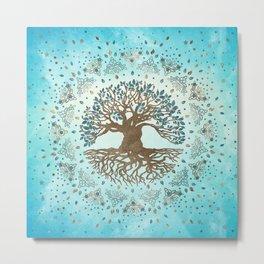 Tree of Life - Yggdrasil - Gentle blue Metal Print