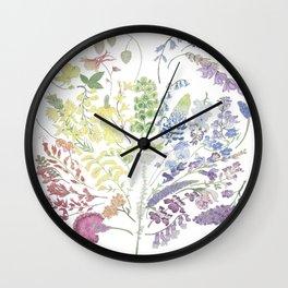 Rainbow Floral Wall Clock
