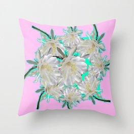 NIGHT BLOOMING TROPICAL CEREUS CACTI ART Throw Pillow