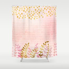 Orchid pink - golden rainforest Shower Curtain