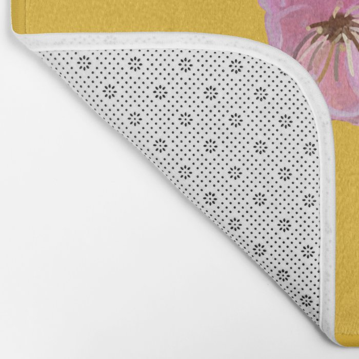 Plum Blossom Pattern Yellow Bath Mat