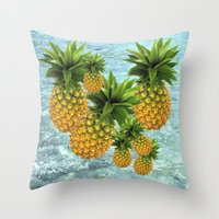 pineapples Throw Pillows featuring Pineapples by Erika Kaisersot
