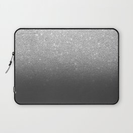 Modern faux silver glitter ombre grey black color block Laptop Sleeve