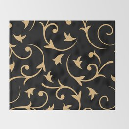Baroque Design – Gold on Black Throw Blanket