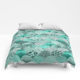 Green Turquoise Glamour Mermaid Scale Pattern Comforters