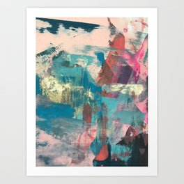 Sugar Rush [2]: a colorful, abstract mixed media piece in pinks, blues, and gold Art Print