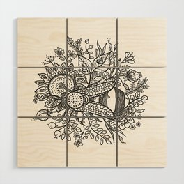 Bees and Flowers Wood Wall Art