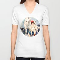 princess mononoke V-neck T-shirts featuring Princess Mononoke by Tiffany Willis