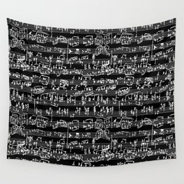Hand Written Sheet Music // Black Wall Tapestry