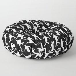 Soccer Players // Black Floor Pillow