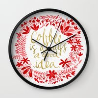 coffee Wall Clocks featuring Coffee by Cat Coquillette