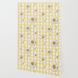 Spring Bloom | Yellow Plaid Wallpaper