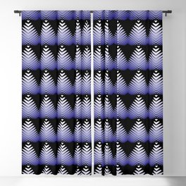 Pattern of blue hearts and flowers on a black background. Blackout Curtain