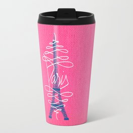Girly Eiffel Tower Pink Whimsical Paris Typography Travel Mug