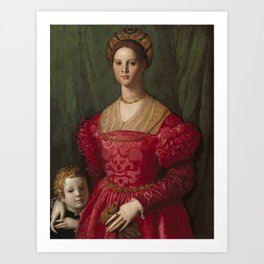 A Young Woman and Her Little Boy OIl Painting by Agnolo Bronzino Art Print