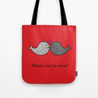 valentine Tote Bags featuring Valentine by The Modern Mermaid Shop