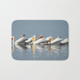 Conga Line of American Pelicans Bath Mat