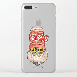 mitten owl Clear iPhone Case