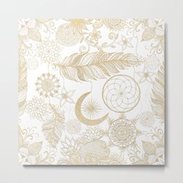Gold Dream-Catcher Mandala Feathers Metal Print